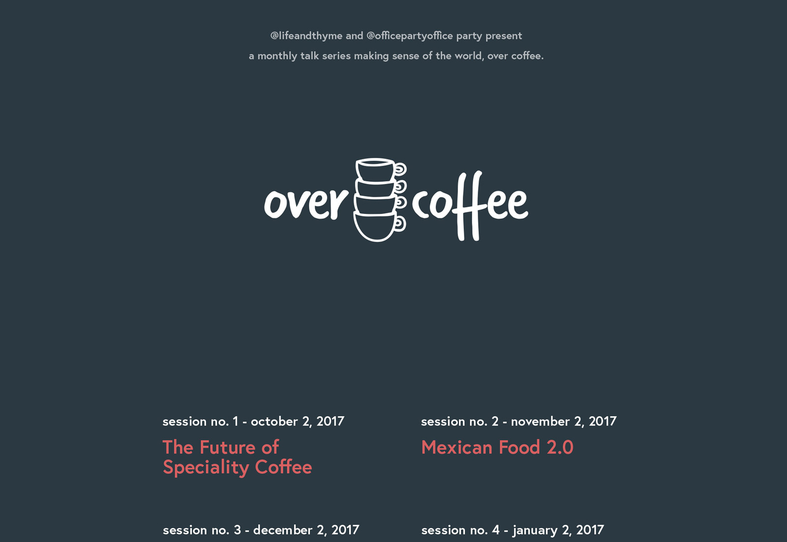 over coffee website